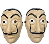 Money Heist mask Salvador Dali CosplayHalloween Dali mask Realistic Movie Prop Face Mask… 2pack