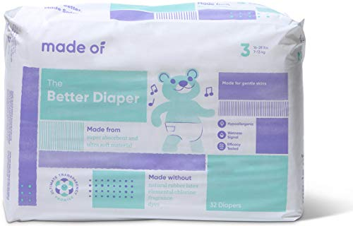 MADE OF Baby Diapers Size 3-10 Hour Absorbent Diapers, Diapers Sensitive Skin, Hypoallergenic Diapers, Unscented Diapers, Pediatrician and Dermatologist Tested, 16-28 pounds (32 Count)