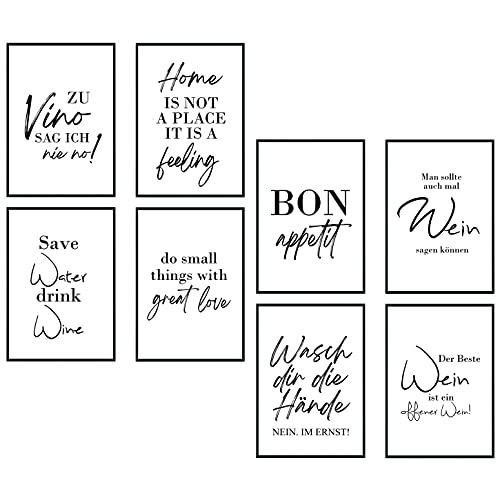 8 Stück Großes Poster Set Bild DIN A4 - Zu Vino sag ich nie no Wasch dir die Hände Plakat Spruch lustiges Wein Geschenk Wine Sprüche Typografie schwarz weiß Küche Wohnzimmer Deko Geschenk