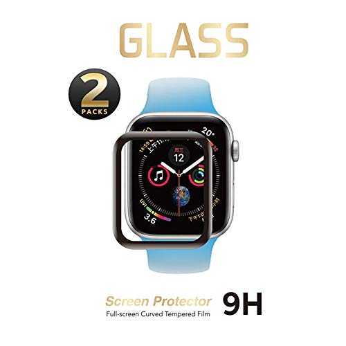 SNSIR Screen Protector 42mm for Apple Watch Series 3/2/1 [2 Pack] [Tempered Glass] Full Coverage Protective Foil 9H 2.5D (Black 42mm)
