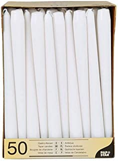 Papstar 17966 50 Leuchterkerzen Durchmesser 2.2 x 25 cm, weiß
