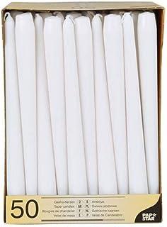 PAPSTAR 17966Lot de 50bougies de chandelier Ø 2,2x 25cm, blanc