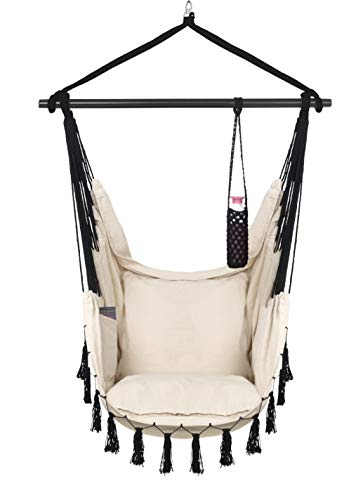 VITA5 Hanging Chair 2 Cushions, Drinks & Book Holder, 500 lbs Weight Capacity – Hammock Chair for Bedrooms – Swing Chair for Indoor & Outdoor (Beige)