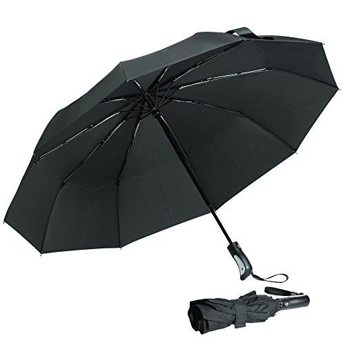 Anti UV Umbrella, Arrela Compact Travel Umbrella Windproof Waterproof UV Protection Folding Auto Open Close Umbrella with 10 Ribs Comfort Handle for Women Men Black