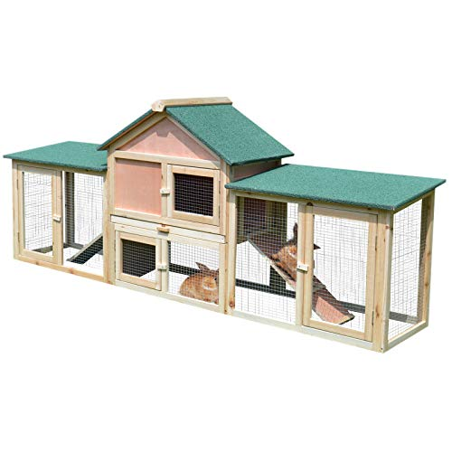 """PawHut 83"""" Wooden Rabbit Hutch Large Bunny House Chicken Coop with Double Running Boxes Removable Tray & Waterproof Roof, Natural"""