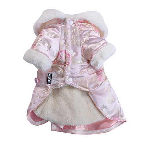 Fenteer Abrigo para Perros Chaqueta de Invierno Cálida Vestido para Perros de Lana Ropa para Perros - Rosa_M