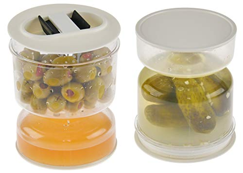 """HOME-X Pickle and Olives Hourglass Jar, Juice Separator, Pickle and Olive Container – 4.5"""" L"""