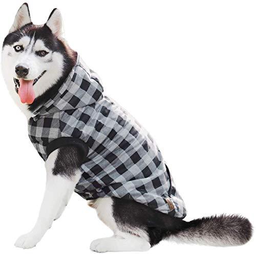 PAWZ Road Camisa a Cuadros para Perros Abrigo con Capucha Ropa para Mascotas Ropa de Invierno Cálida y Suave para Perros medianos y Grandes Versión de actualización Gris 4XL