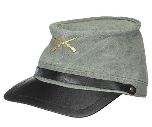 AW-Collection Kavallerie Cap mit Schild aus Wildleder grau gekreuzte Gewehre