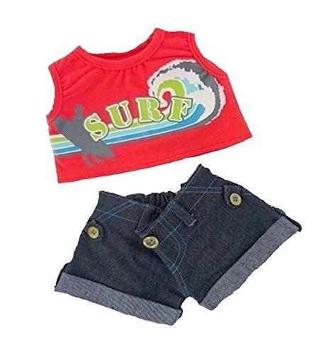 Construya su Bears Armario de 15 Pulgadas Teddy Bears Ropa Surfer Denim Shorts Outfit Fit Construye Oso Peluches (Rojo)