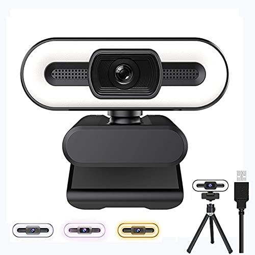 Webcam 2K mit Mikrofon, Full HD 1080P Streaming Webcam mit Stativ, USB Kamera Plug und Play, Web Camera für PC/Laptop/Mac, Skype, Zoom, YouTube, Konferenzen, Videoanruf(Weiß/Warmes/Natürliches Licht)