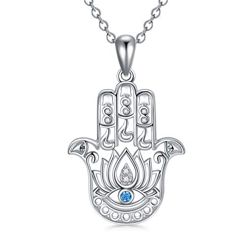Hamsa Hand Pendant Necklace Sterling Silver Hamsa Hand Fatima Evil Eye Necklace Yoga Buddha Menhdi Ganesh Hand Good Luck Jewelry
