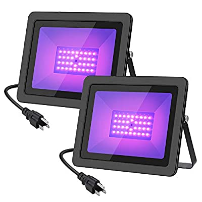 WELKEY PLUS 50W UV Black Light with Plug(6ft Cable), IP66 Waterproof Ultra Violet LED Flood Blacklight for Party Supplies, Stage Lighting, Body Paint, Fluorescent Poster, Neon Glow in The Dark