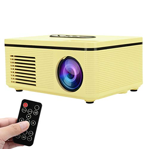 Goshyda Proiettore Domestico, Mini videoproiettore Portatile Multifunzione 1080P Videoproiettore per Esterni per Camera da Letto con Telecomando, per Guardare la TV, i Film, i Giochi(Giallo)