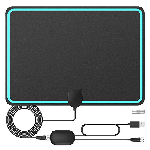 Antenna TV Digital HD Indoor, Ultra-Thin HDTV Antenna Freeview 150 Miles Range Support 4K 1080p HDTV and Smart TV, Signal Booster for 4K HD Local Channels 1080P VHF UHF - 16.5ft Coax Cable