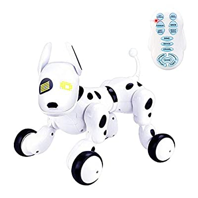 Bambiya Pet Robot Dog Walks, Dances, Plays Music, Follows Instructions and Educate. Have Fun, Learn ABCs and Numbers with This Smart Toy Dog with Remote Control and USB Charger. ASTM Certified