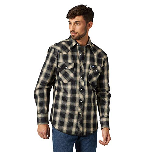 Wrangler Men's Western Premium Performance Advanced Comfort Workshirt,Tan/black Plaid,XXL