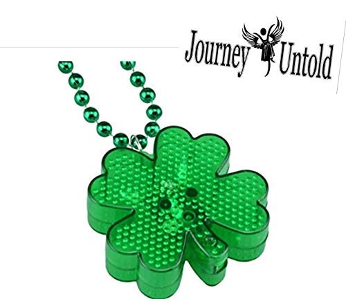 Fun Cute St. Patrick's (Bonus Glitter SHIMMERS) St Patricks Day Decoration Shamrock Light Up Necklaces, 20 in.