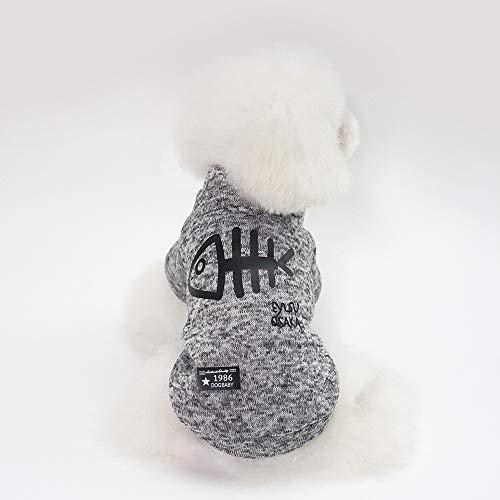 WANXIANG Dog Coats with Fish Bone Pattern,Soft and Warm,Stylish Dog Jackets for Small Dogs,Cats,Puppy Pets,Yorkshire,Teddy,Bichon,French Bulldog,Schnauzer,etc (Gray, S)