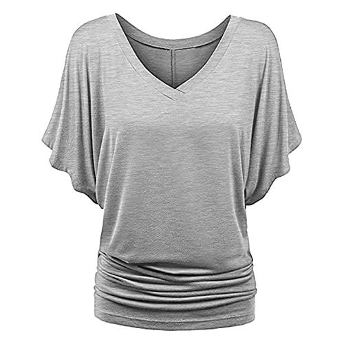 FrüHling Und Sommer Damen Casual Pullover V-Ausschnitt Einfarbig Lose GroßE Kurzarm T-Shirt Top Damen