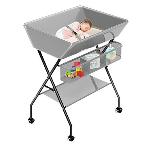 YXX-Wickelkommode wickelaufsatz wickeltisch Grau Klappbarer Wickeltisch, Tragbare Säuglingswindelstation mit Rädern, für Kindergarten und öffentliche Toiletten