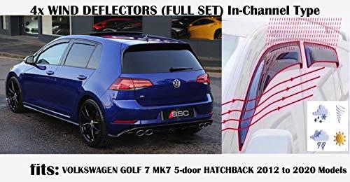 Set di 4 deflettori d\'aria tipo IN-CHANNEL compatibili con VW MK7 Volkswagen Golf 7 Hatchback 5 porte R GTI GT 2012 2013 2014 2015 2016 2017 2018 2019 2020 vetro acrilico
