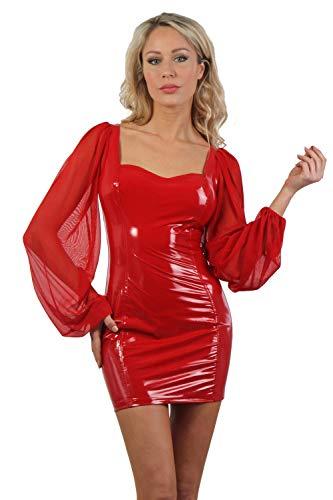 Miss Noir Vestido sexy de vinilo para mujer con mangas largas y cremallera de 2 vías, aspecto mojado, aspecto de piel lacada, para fiestas o clubes. rojo XL