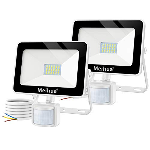 MEIHUA 2 pezzi 25W Faretto con sensore di movimento, Faretto a LED per esterni, IP66 Lampada a LED per esterni a risparmio energetico impermeabile per cancello, garage, terrazza, bianco freddo