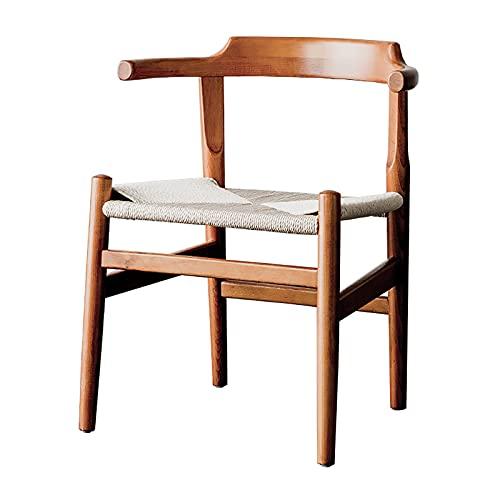 Silla de comedor Reposabrazos de madera maciza Sillas de esquina decorativas Casa de mediados de siglo Mesa de comedor Taburete Negociar silla Color de madera de cerezo