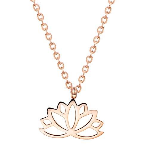 Happiness Boutique Collana Loto Oro Rosa | Delicata Collana Fiore di Loto Pendente Bijoux Acciaio Inossidabile