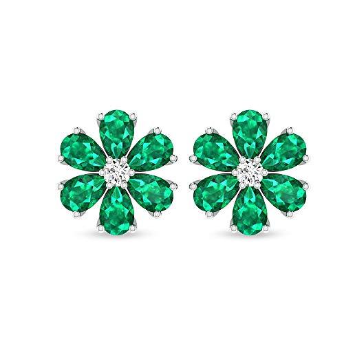 Pendientes de flores de esmeralda con diamantes de claridad de color HI-SI, pendientes de piedras preciosas de declaración, pendientes de diamante SGL certificados, cierre de rosca verde