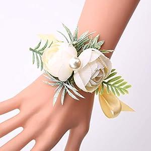 Silk Flower Arrangements SERRAFLORA Wristlet Corsage,Bridesmaid Bouquet,Wedding Wrist Flowers,Bridal Bouquet,Artificial Flower Bouquet,Silk Flower Supplies,Flower Decor,Wedding Flowers(14# 6pcs)