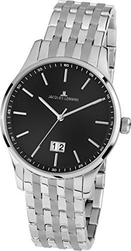 Jacques Lemans Herren Analog Quarz Uhr mit Edelstahl Armband 1-1862M