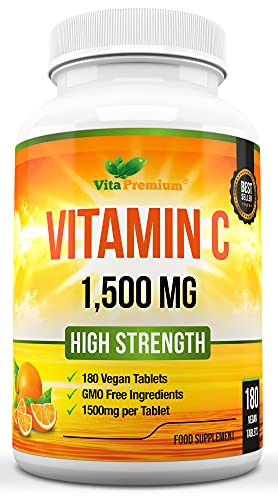 Vitamin C 1500mg, High Strength 180 Vegan Tablets, 6 Month Supply - Made in...
