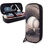 Baseball Bat and Glove Leather Pencil Case Holder Pen with Zipper for Girls and Boys - Pencil Pouch Storage Bag for School Office