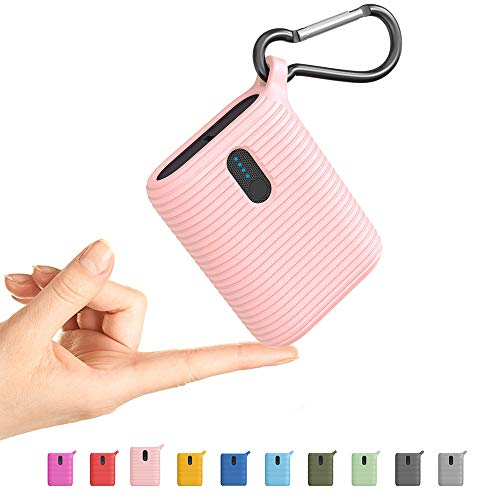 OUTXE Mini Powerbank 10000mAh, tragbares Ladegerät superleicht mit Zwei Ausgangsanschlüssen, leichtester ultrakompakter externer USB-C-Akku für iPhone, Samsung und mehr (Blütenpink)