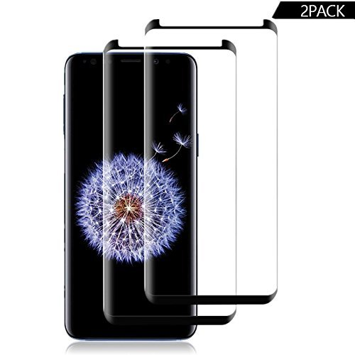Makos Compatible [2 - Pack] Samsung Galaxy S9 Tempered Glass Screen Protector,[9H Hardness][Anti-Scratch] [Anti-Fingerprint][3D Curved][Ultra Clear] Screen Protector for Galaxy S9(Black)