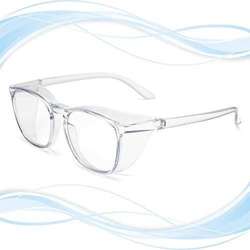 Gafas de seguridad de gran tamaño con protectores laterales anti niebla, pulverización y polvo, marco grande anti rayos azules y UV gafas de seguridad para el trabajo, color azul