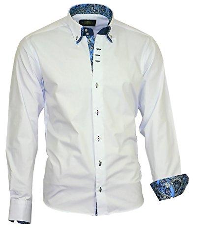 Binder de Luxe Herren Herren Hemd modern fit Langarm Doppelkragen Weiß Blau M 40