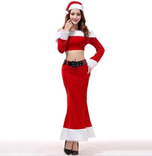 MFFACAI Femmes Miss Santa Costume Dames Rouge Sexy Mlle Mme Santa NoëL Velvet Fantaisie Longue Robe Glamour Costume Outfit