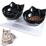 Cuenco para Mascotas,Comederos para Gatos con Soporte,Tazón de Gato Ortopédico, Plataforma Inclinada de 15°Alimentador para Gatos (Black+Black)