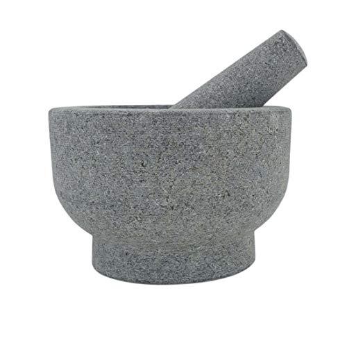Granite Mortar and Pestle Set 21/3 Cup Capacity – 6 Inch  AntiScratch Protector and Garlic Peeler