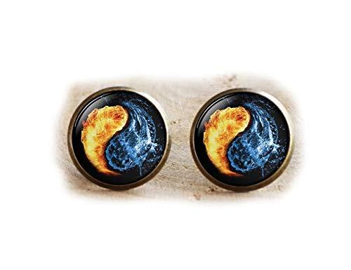 Yin Yang pendientes, fuego y agua símbolo joyas, Yoga regalo reiki regalo