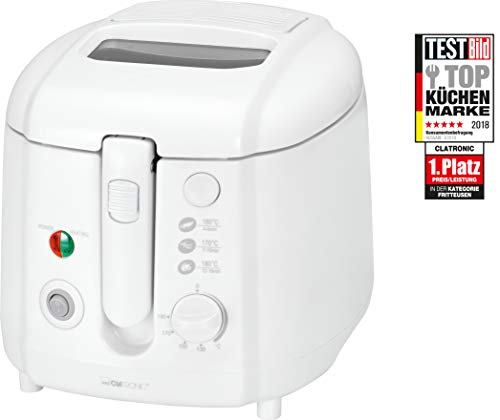 Clatronic FR 3390 friteuse, 2 liter, cool touch-behuizing, grote frituurmand, springdeksel met kijkvenster (afneembaar), 2 controlelampjes