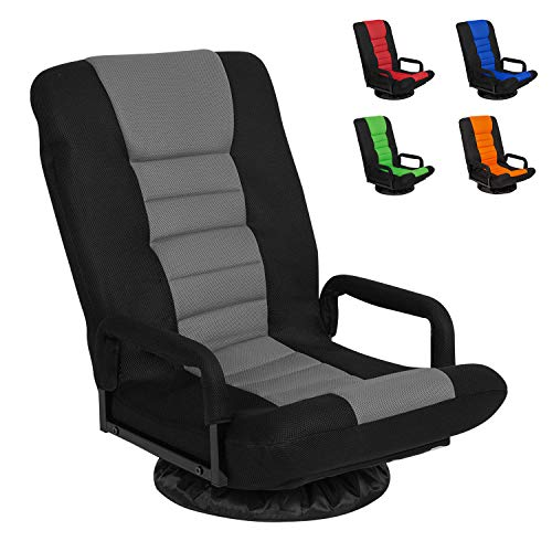 Swivel Gaming Floor Chair with Arms Back Support...