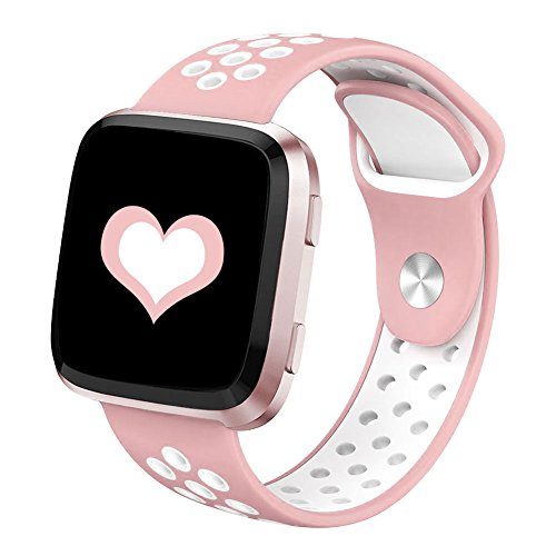 DEKER for Fitbit Versa Bands for Women Men Small Large Wrist, Breathable Soft Fitness Sport Silicone Strap Replacement Accessories Wristbands for Fitbit Versa Smart Watch (Pink/White, Small)