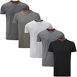 Charles Wilson Paquete 5 Camisetas Cuello Redondo Lisas (Small, Monochrome)