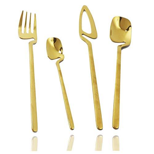 JASHII 304 Gold Silverware Set Stainless Steel Gold Flatware Gold Utensils Set Gold Cutlery Set 8-piece Modern BEST Birthday Wedding Gift (Shiny Gold)