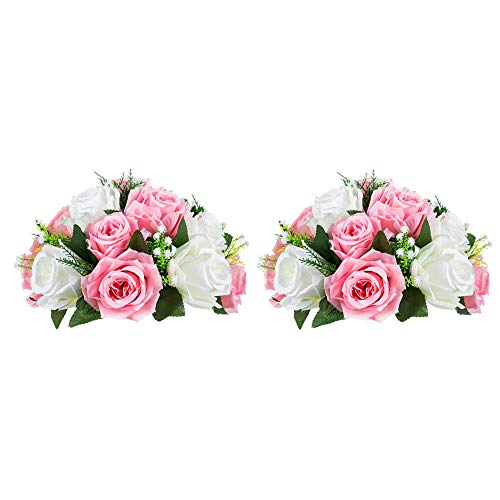 Nuptio 2 Pièces Fleurs Artificielles, 15 Têtes de Roses Plastique avec Base, Convient au Centre de la Table Mariage Notre Magasin pour Les Fêtes Décoration de Saint Valentin(Rose&Blanc)