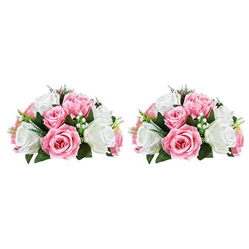 Nuptio 2 Stück Künstliche Blumenstrauß, 15 Köpfe Kunststoff Rosen mit Sockel, Geeignet für Unser Geschäft Hochzeit Herzstück Blumenregal für Parteien Valentinstag Dekoration(Pink & Weiß)
